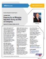 Free Speaker Series! Preparing for and Managing Operations During and After an Emergency